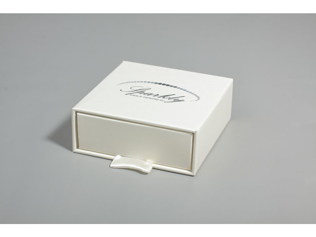 Dárková krabička Luxury s metalickým povrchem slonová kost
