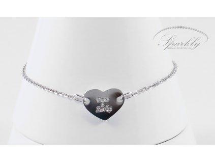 Stříbrný dámský náramek Heart s vyrytým textem