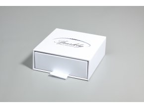 Bílý dárková krabička Luxury s metalickým povrchem