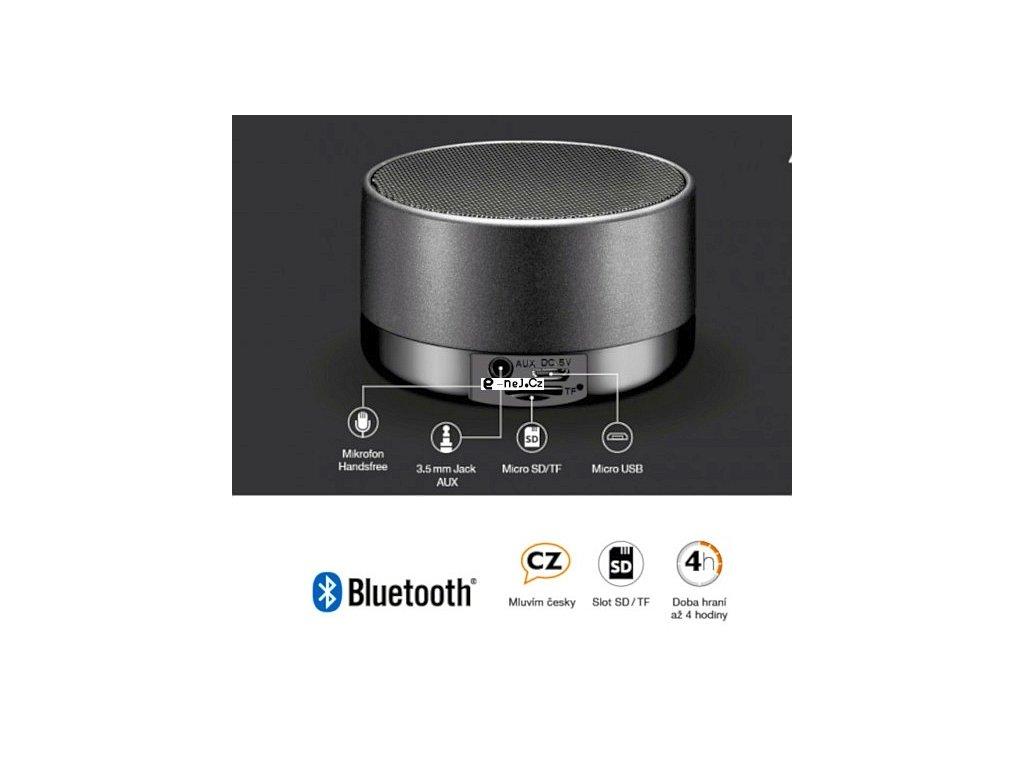 Bluetooth kovový reproduktor ALIGATOR ABS1, micro SD, černá