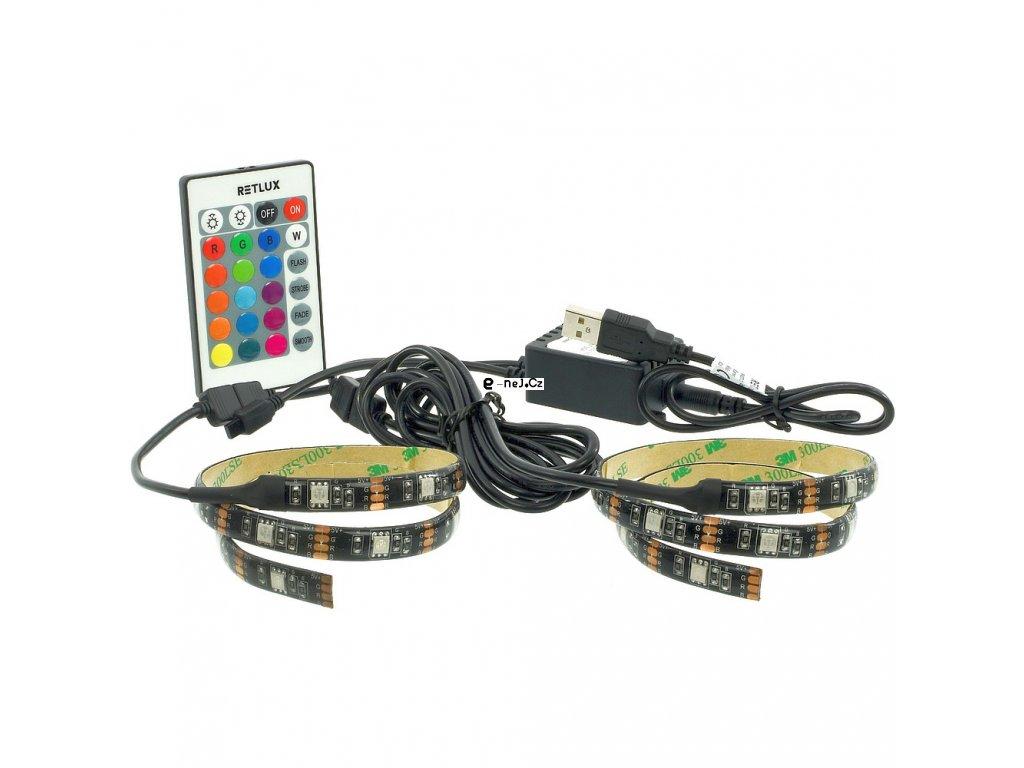 USB LED pásek RGB 2×50cm s DO