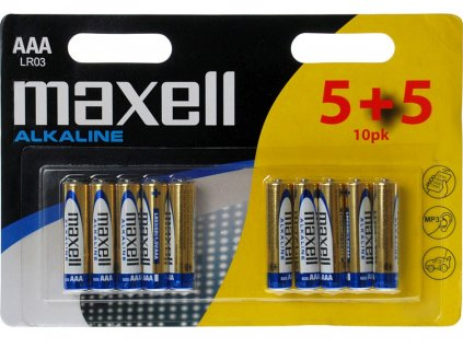 Mikrotužkové baterie AAA 10ks maxell Alkalické
