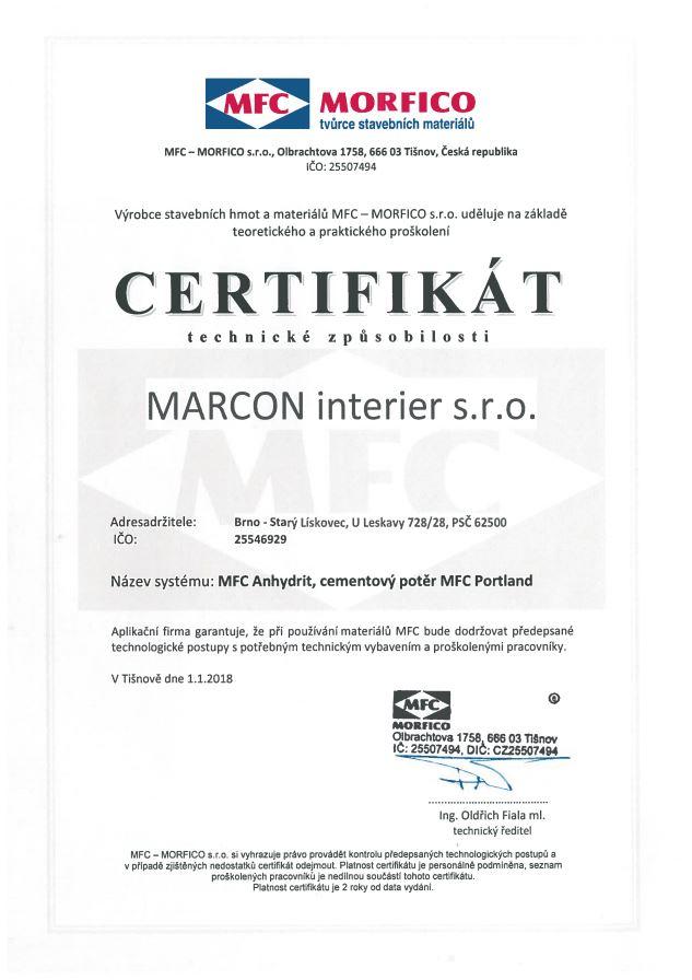 MFC cementový potěr - certifikovaná firma na lité podlahy
