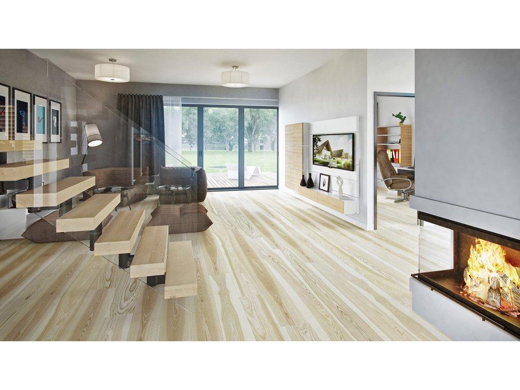 Dřevěná podlaha - Jasan Milkshake Grande (Barlinek) - třívrstvá