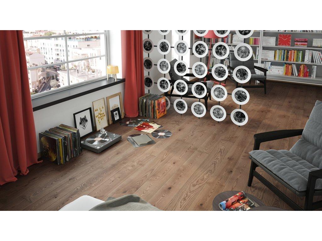 Dřevěná podlaha - Jasan Hazelnut Grande (Barlinek) - třívrstvá