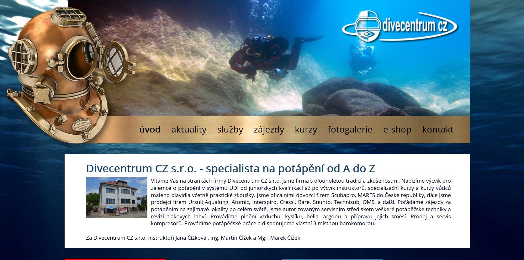 Webové stránky Divecentra