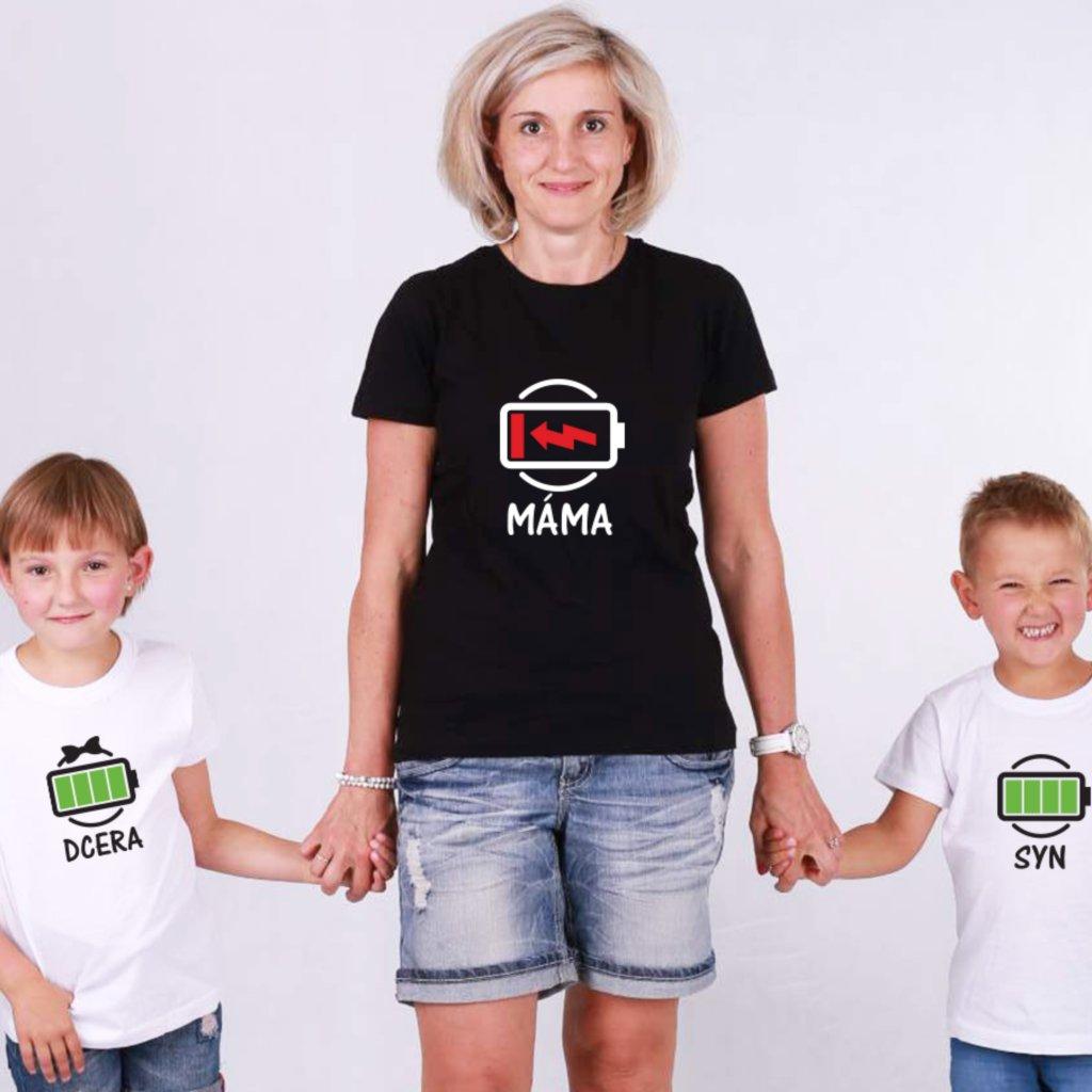Set Máma & Syn/Dcera Low Battery (cena za jedno tričko)