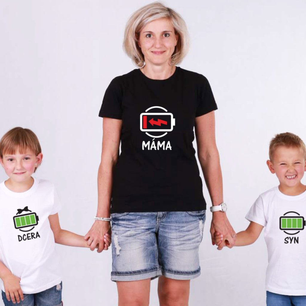 Set triček Máma & Syn/Dcera Low Battery (cena za jedno tričko)