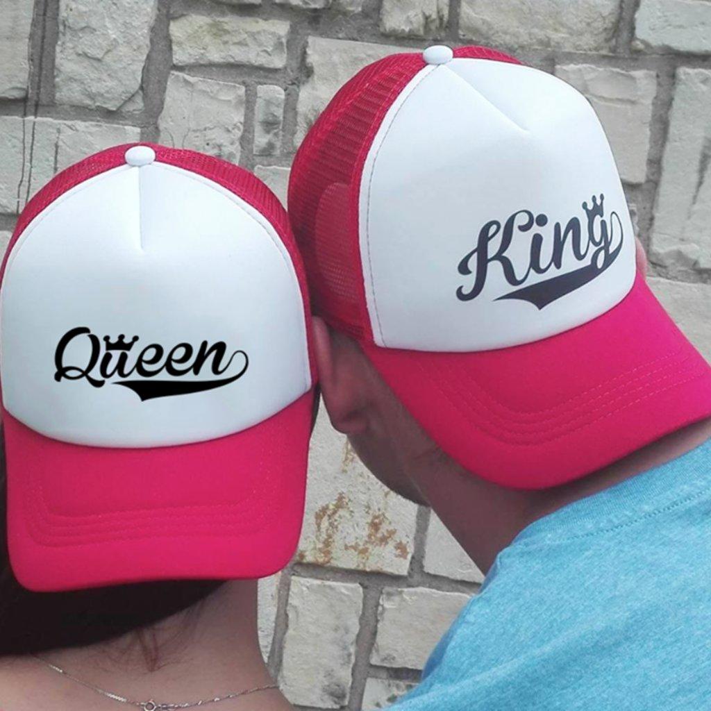 Set kšiltovek KING & QUEEN Trucker Red