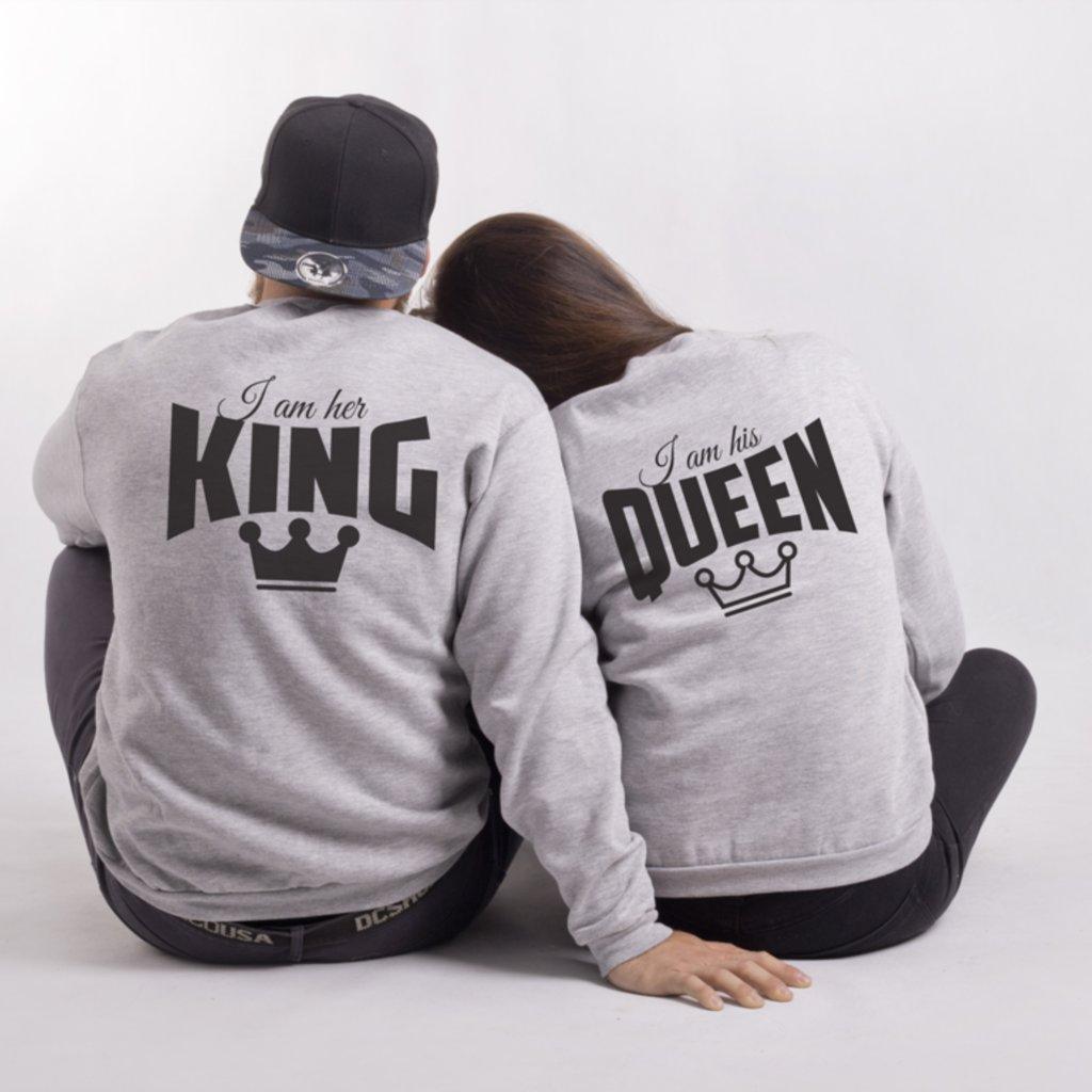 Mikiny bez kapuce HIS QUEEN & HER KING  (cena za obě mikiny)