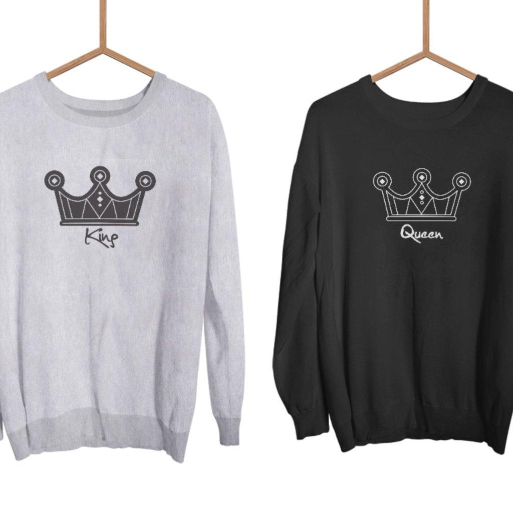 Mikiny KING & QUEEN Krone šedé bez kapuce (cena za obě mikiny)