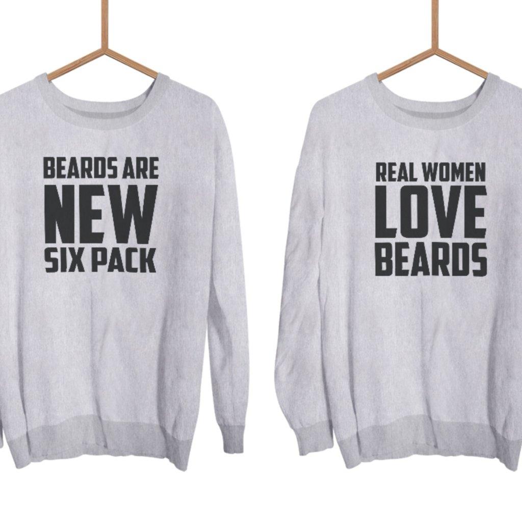 Párové mikiny bez kapuce Beards (cena za obě mikiny)