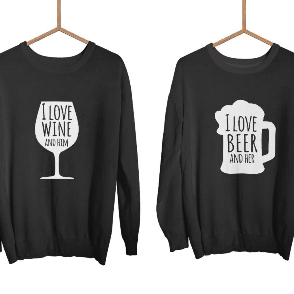Párové mikiny bez kapuce Beer and Wine (cena za obě mikiny)