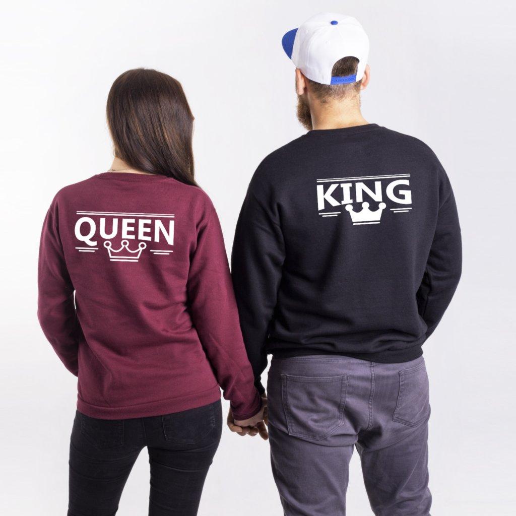 Mikiny bez kapuce KING & QUEEN (cena za obě mikiny)
