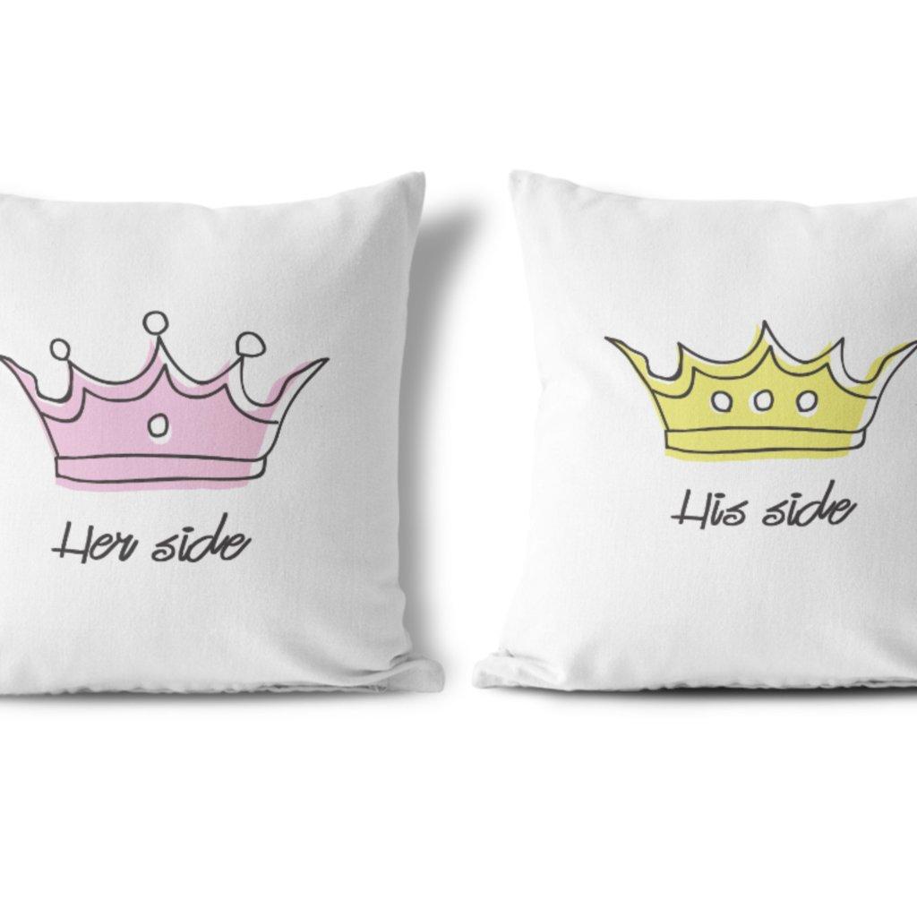 Polštářky KING & QUEEN Crown (cena za oba kusy)