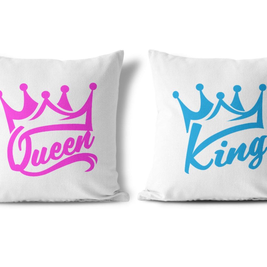 Polštářky KING & QUEEN Pink and Blue Wildlove (cena za oba kusy)