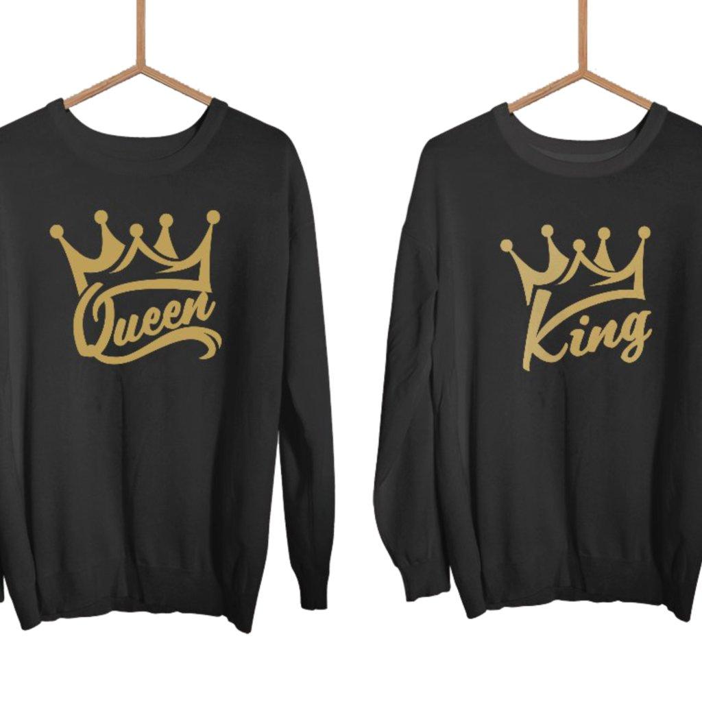 Mikiny KING & QUEEN Wildlove černé bez kapuce se zlatým potiskem (cena za obě mikiny)