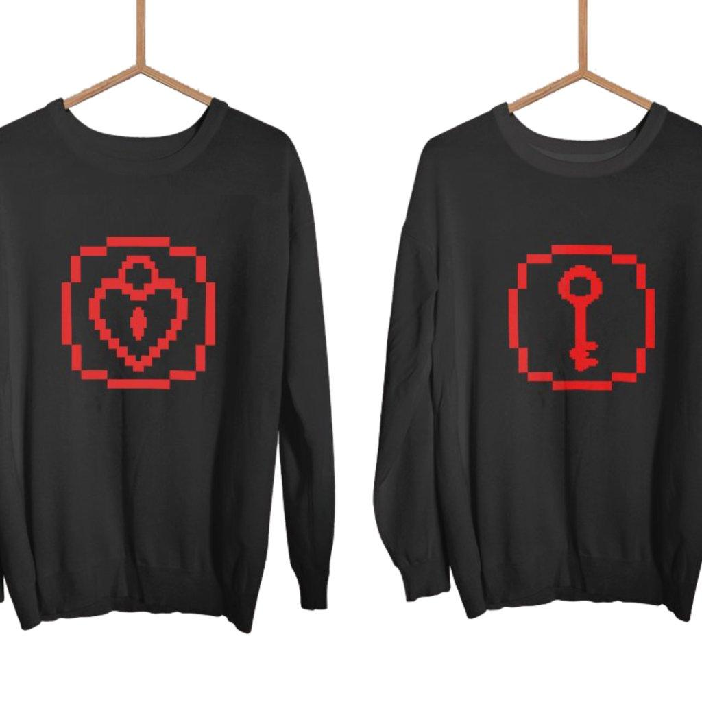 Párové mikiny černé bez kapuce KEY HEART PIXEL (cena za obě mikiny)