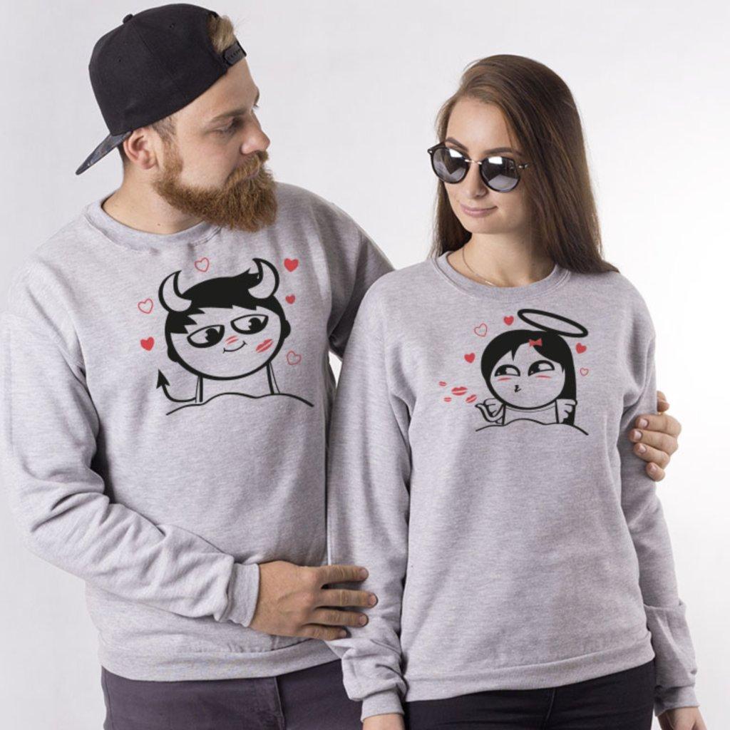 Párové mikiny bez kapuce Cute Buddies Boy Devil & Girl Angel (cena za obě mikiny)