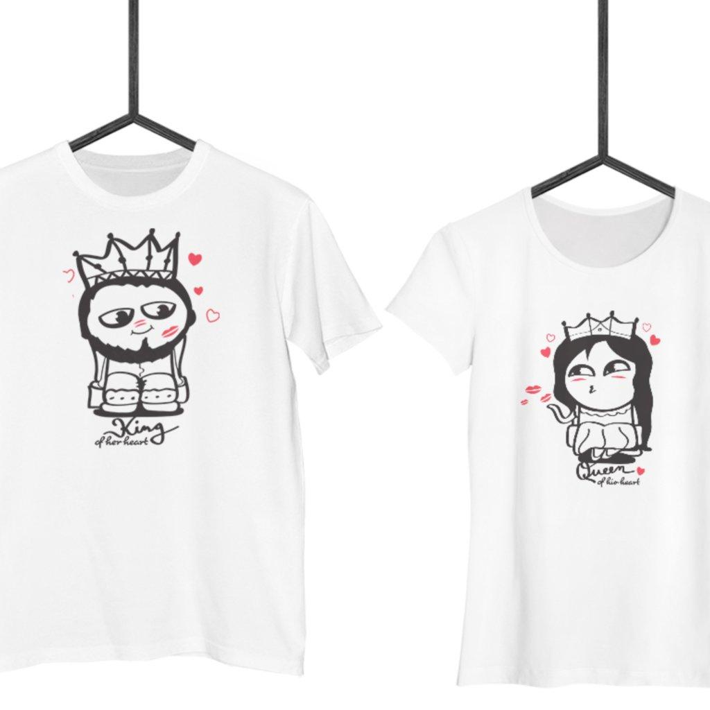 Bílá trička Cute Buddies KING & QUEEN (cena za obě trička)