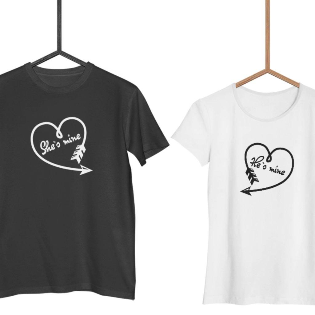 Trička He/She's Mine (cena za obě trička)