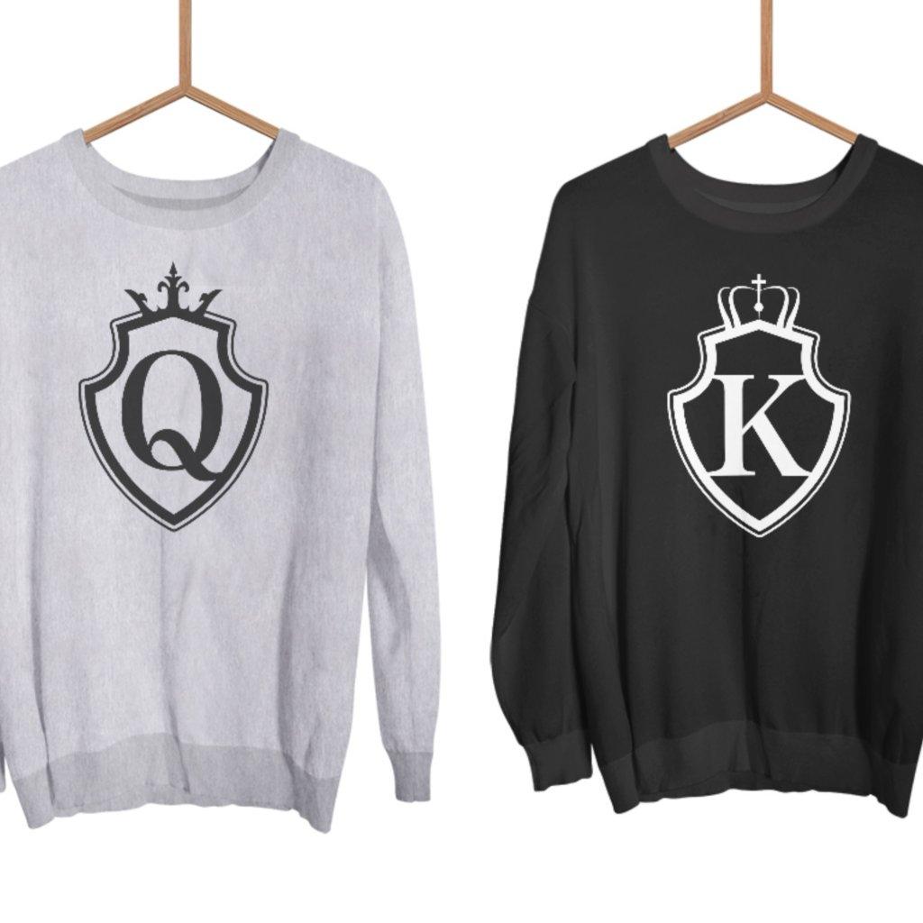 Mikiny KING & QUEEN Shield černé nebo šedé bez kapuce (cena za obě mikiny)