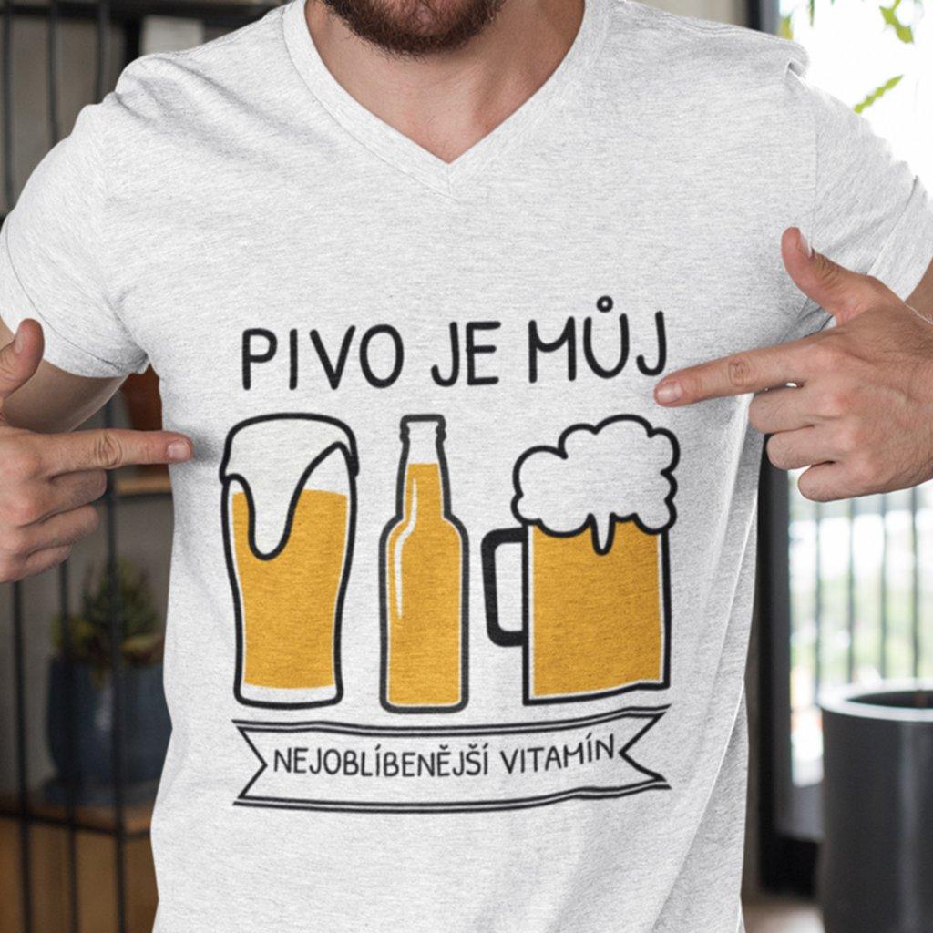 Pánské tričko Pivo je můj nejoblíbenější vitamín