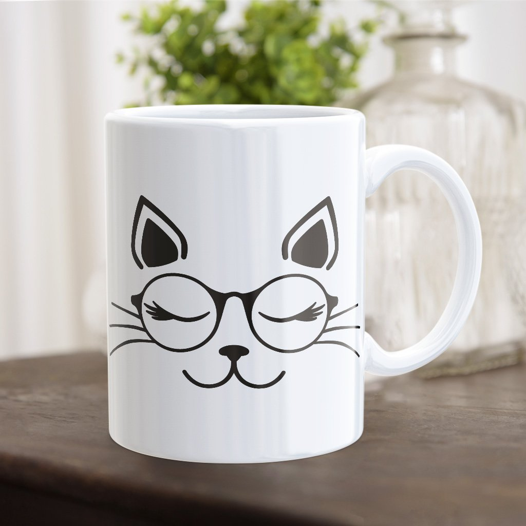cat with glasss