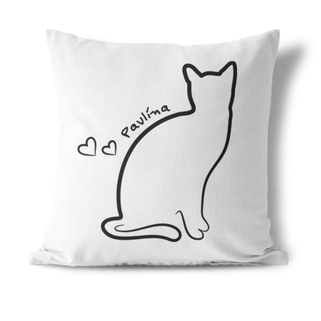 Polštářek Kočka se jménem (potisk na přání)
