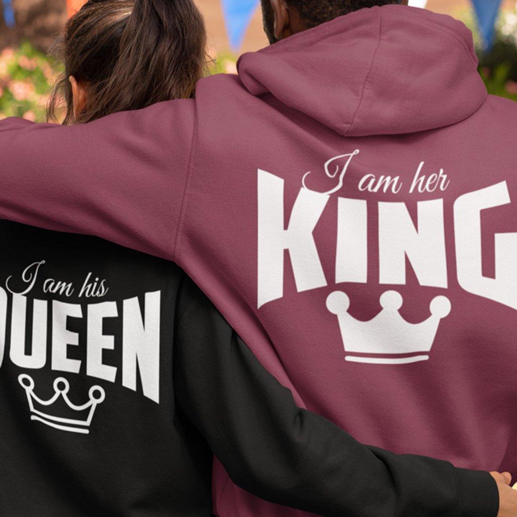 Mikiny HIS QUEEN & HER KING černé nebo šedé (cena za obě mikiny)