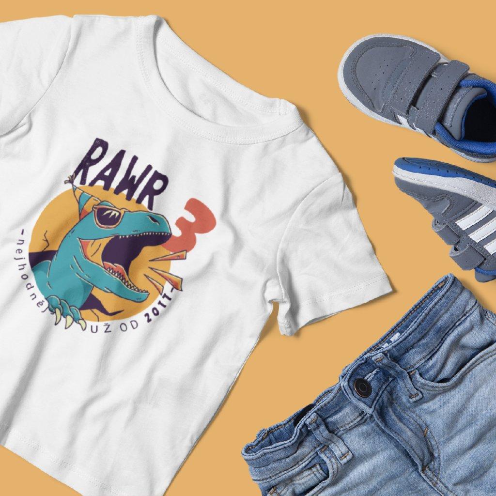 Narozeninové dětské tričko Nejhodnější už od... (dinosaurus)