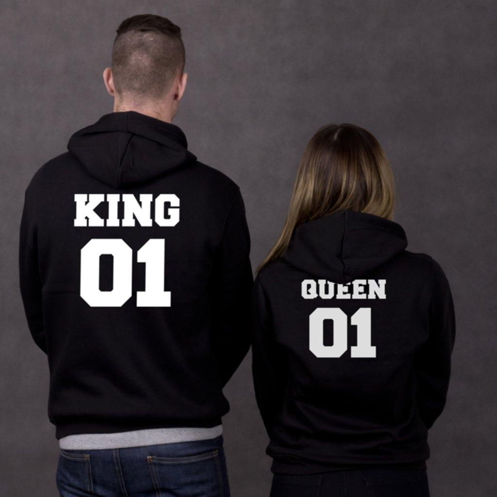 Mikiny KING 01 & QUEEN 01 černé - Potisk vzadu (cena za obě mikiny)