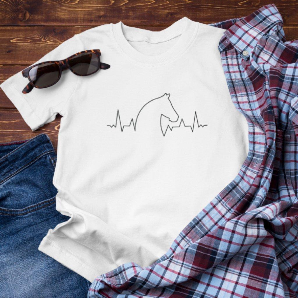 Pánské/Dámské tričko EKG křivka kůň