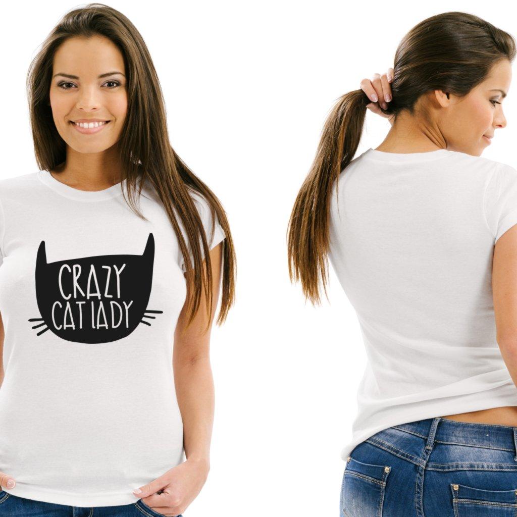 Dámské tričko Crazy Cat Lady bílé