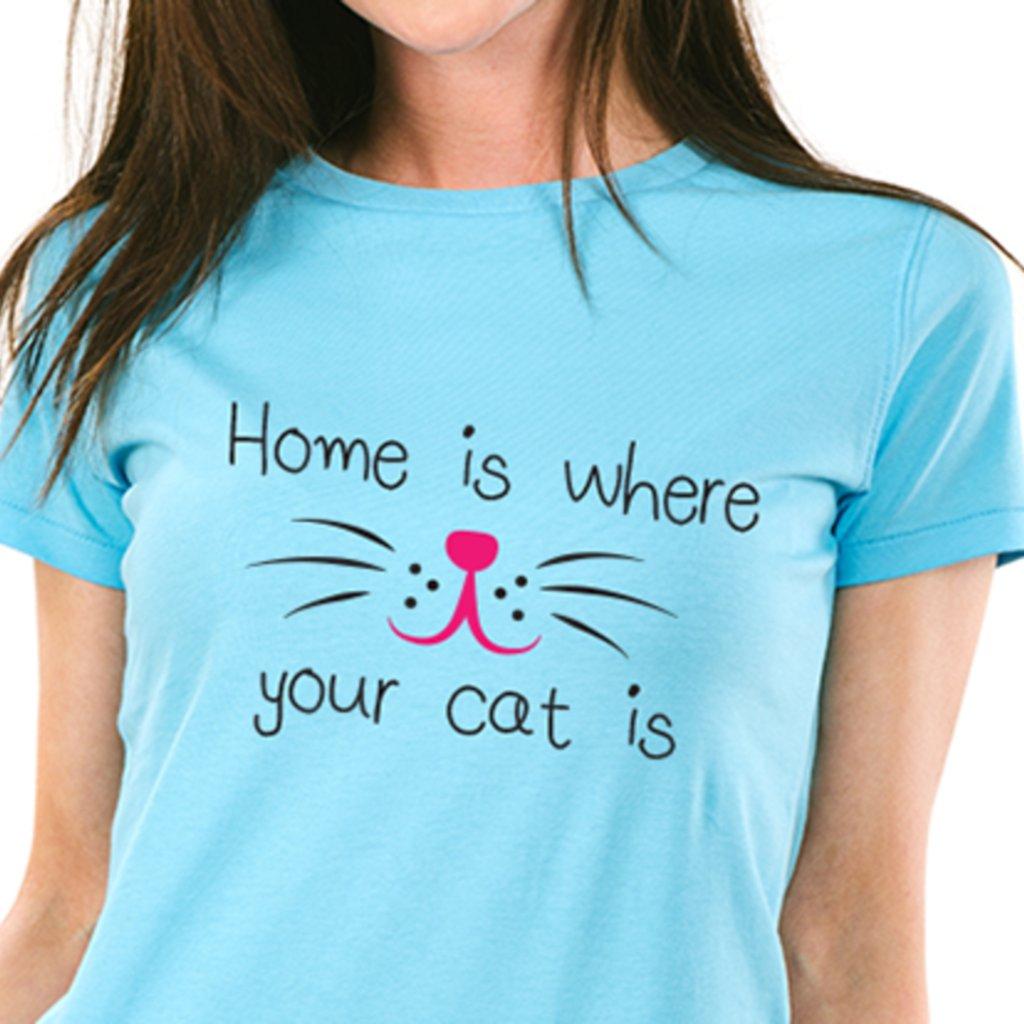 Dámské tričko Home is where your cat is