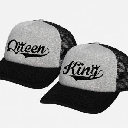 Set kšiltovek KING & QUEEN Trucker Grey