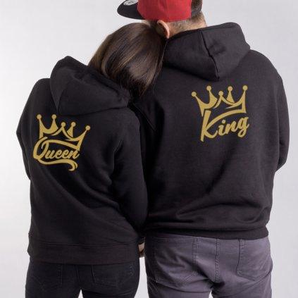 Mikiny KING & QUEEN Wildlove černé s kapucí - Zlatý potisk vzadu (cena za obě mikiny)