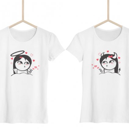 Best Friends trička Cute Buddies Angel & Devil (set dvou dámských triček)