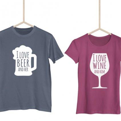 Párová trička Beer & Wine (cena za obě trička)