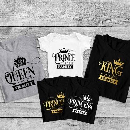Set triček King & Queen gold family (zlatý potisk)