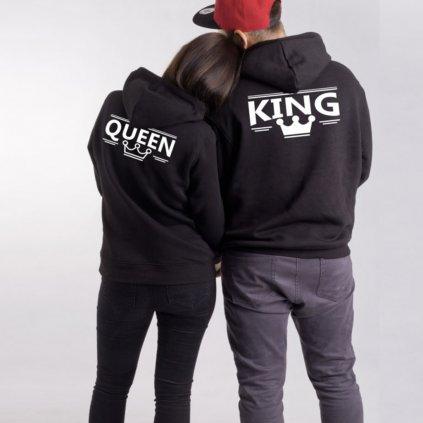 Mikiny KING & QUEEN černé - Potisk vzadu (výhodná cena za obě mikiny)