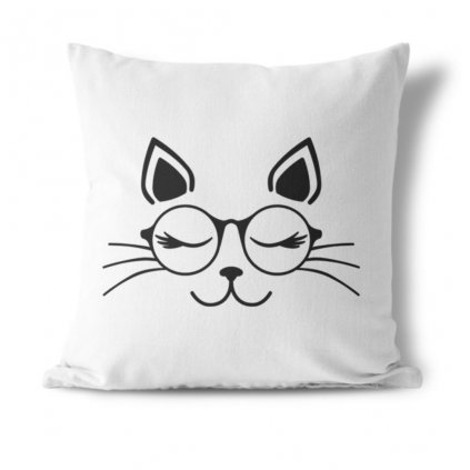 Polštářek Cat with glasses