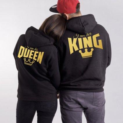 Mikiny HIS QUEEN & HER KING černé - Zlatý potisk vzadu (cena za obě mikiny)