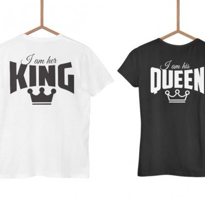 Párová trička Her king & His queen, potisk vzadu i v předu (cena za obě trika)