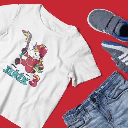 Dětské narozeninové tričko Hasič (jednorožec)
