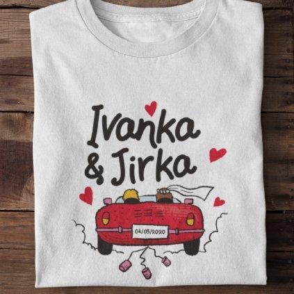 Pánské/dámské tričko svatební automobil (potisk na přání)