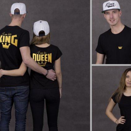 Párová trička Her king & his queen, ZLATÝ potisk vzadu i v předu  (cena za obě trika)