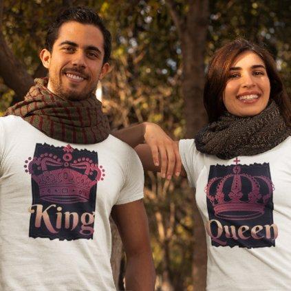 Párová trička King & Queen royal (cena za obě trička)