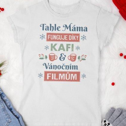 Dámské tričko Kafe a vánoční filmy