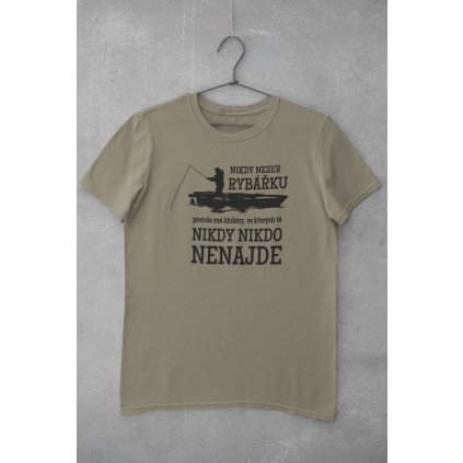 mockup of a basic tee hanging on a concrete wall 33689